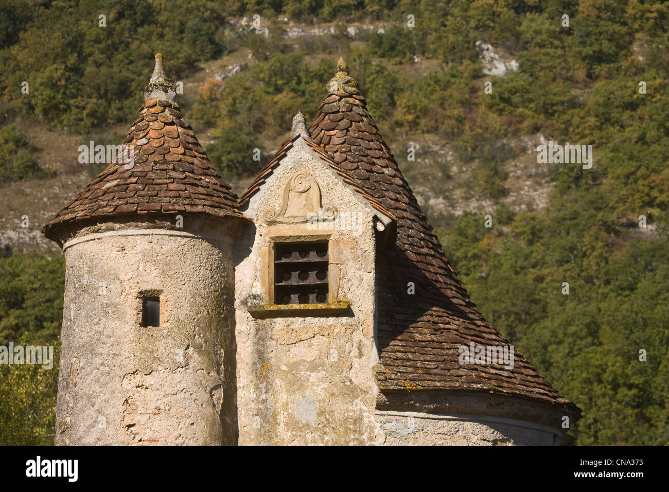 France, Lot, Autoire, Castle Limargue, the fifteenth century, labeled The Most Beautiful Villages of France - Stock Image