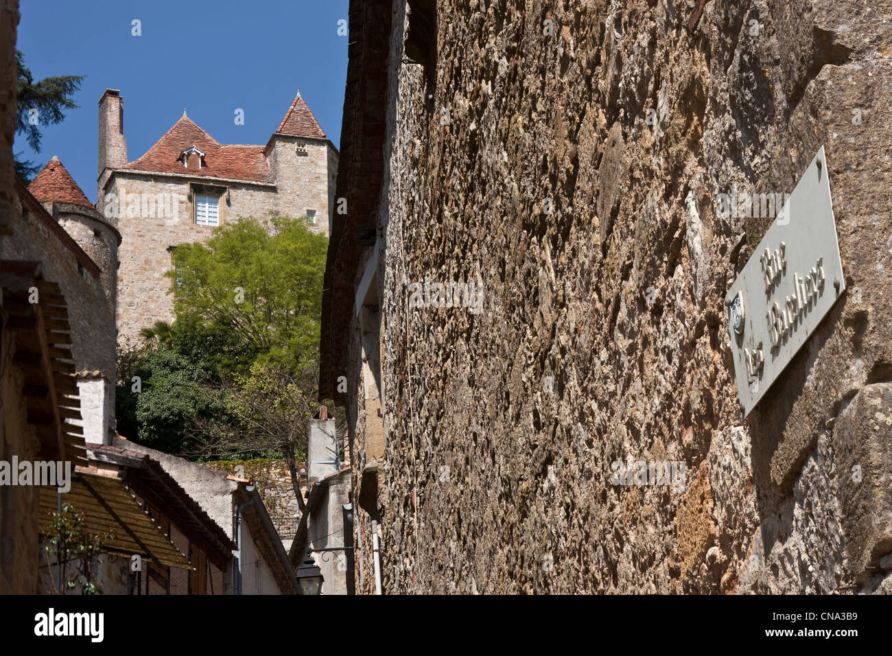 France, Lot, Puy l'Eveque, Old Street and remains of the Boatmen - Stock Image