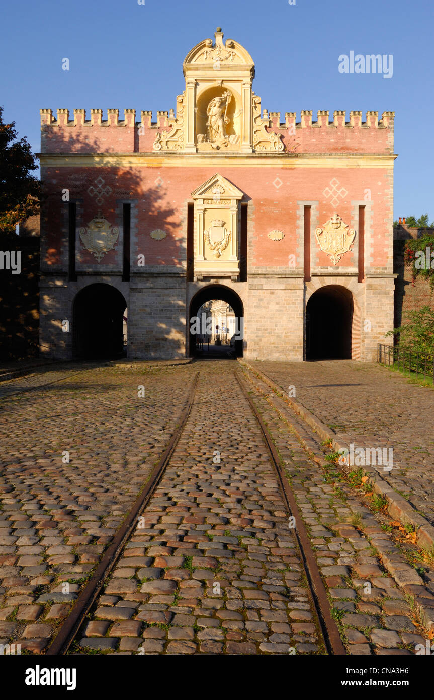 France, Nord, Lille, old rails and pavement in front of Roubaix Gate - Stock Image