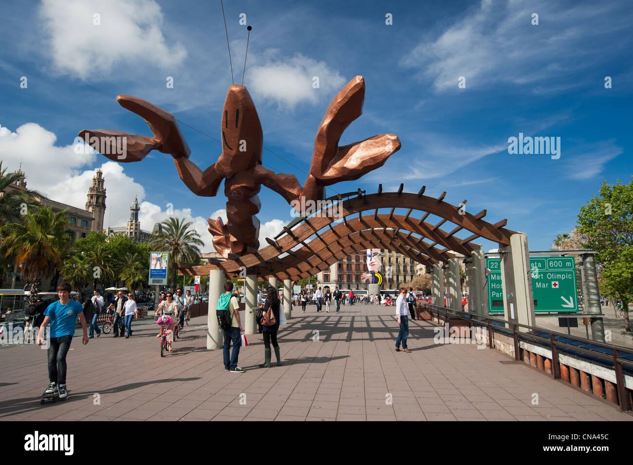 Spain, Catalonia, Barcelona, Ciutat Vella District, Passeig de Colom, La Gamba sculpture (the Shrimp) by designer - Stock Image