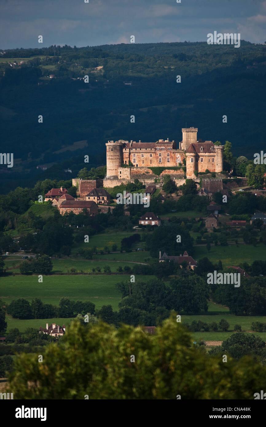 France, Lot, Prudhomat, Chateau de Castelnau Bretenoux Stock Photo