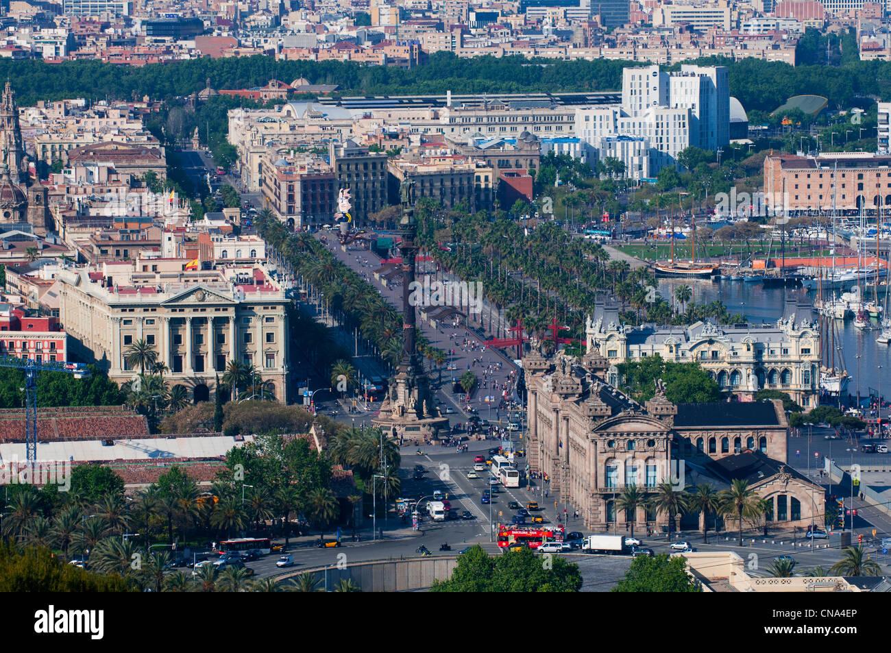 Spain, Catalonia, Barcelona, Ciutat Vella District, Passeig de Colom - Stock Image