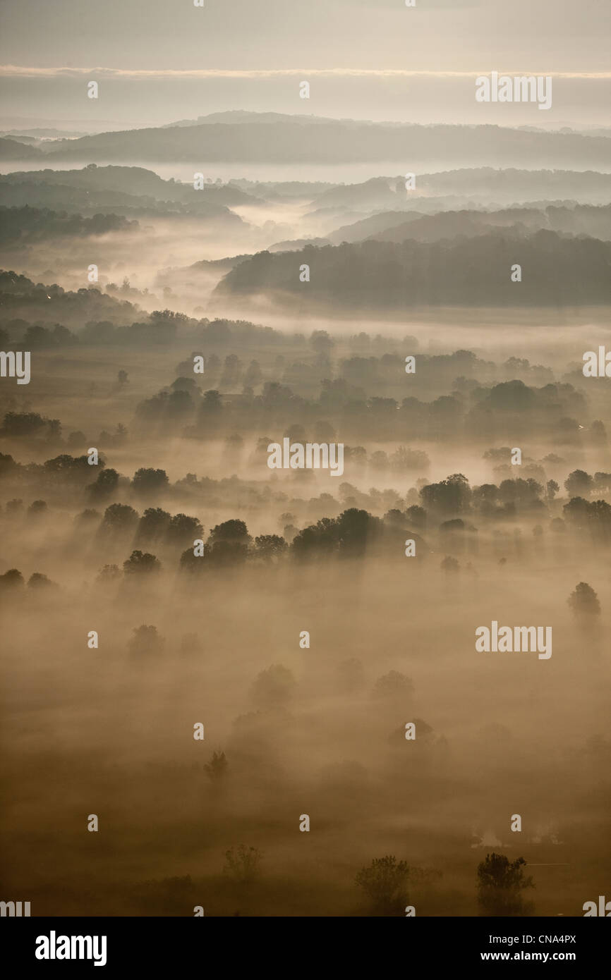 France, Lot, Morning Mists on the Causse de Gramat, Aerial view - Stock Image