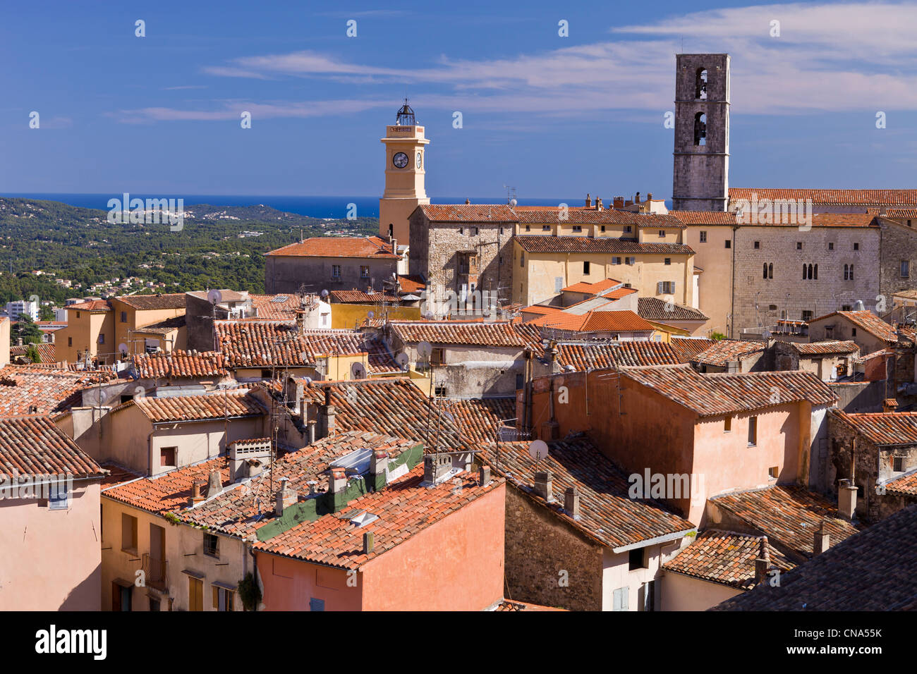 France, Alpes Maritimes, Grasse, tour of clock and cathedral Notre Dame du Puy with a view of the Mediterranee sea Stock Photo