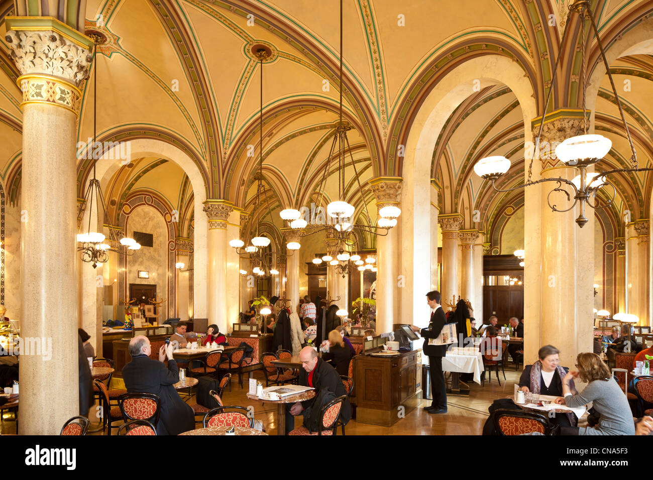 Austria, Vienna, historic center listed as World Heritage by UNESCO, Palais Ferstel, coffee Central opened in 1876 - Stock Image