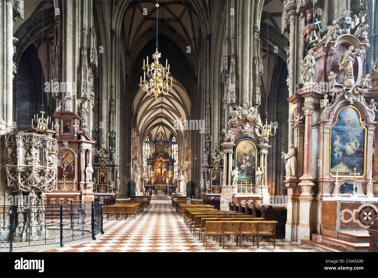 Austria, Vienna, St. Stephen's Cathedral in the Gothic style was consecrated in 1147 - Stock Image