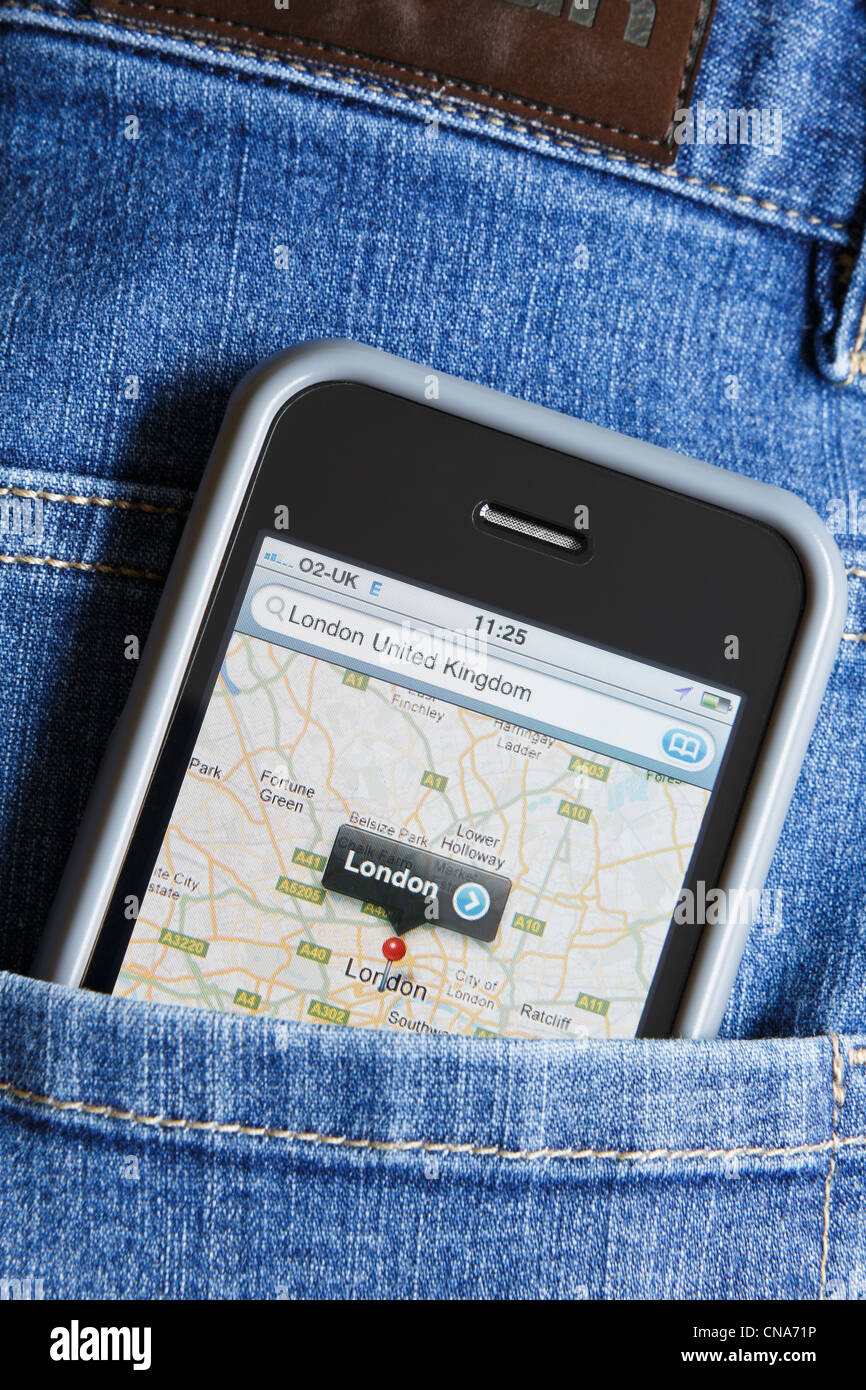 An Apple iPhone GPS displaying Google maps for the London area in the back pocket of a pair of blue denim jeans - Stock Image
