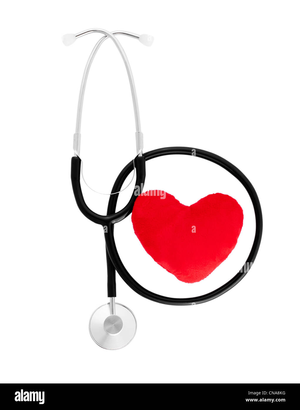Heart with stethoscope - Stock Image