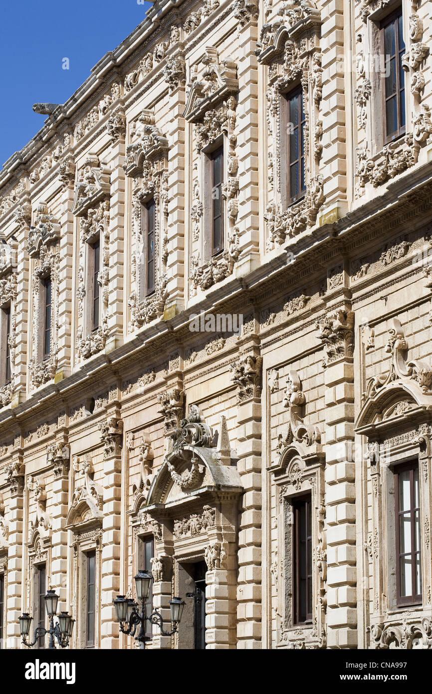 Italy, Puglia, Lecce, Palazzo del Governo in old Celestine convent from 17th century - Stock Image