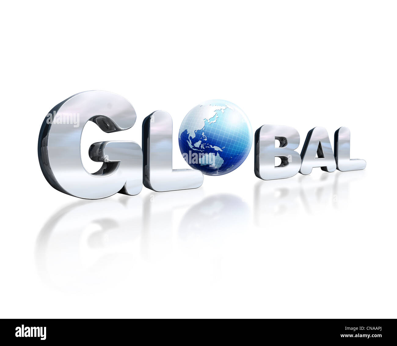 3 D chrome lettering with the word Global and earth globe in place of the letter O. - Stock Image