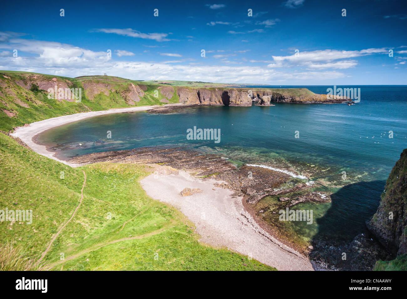 Coastal view from Dunnottar Castle near Stonehaven Scotland - Stock Image
