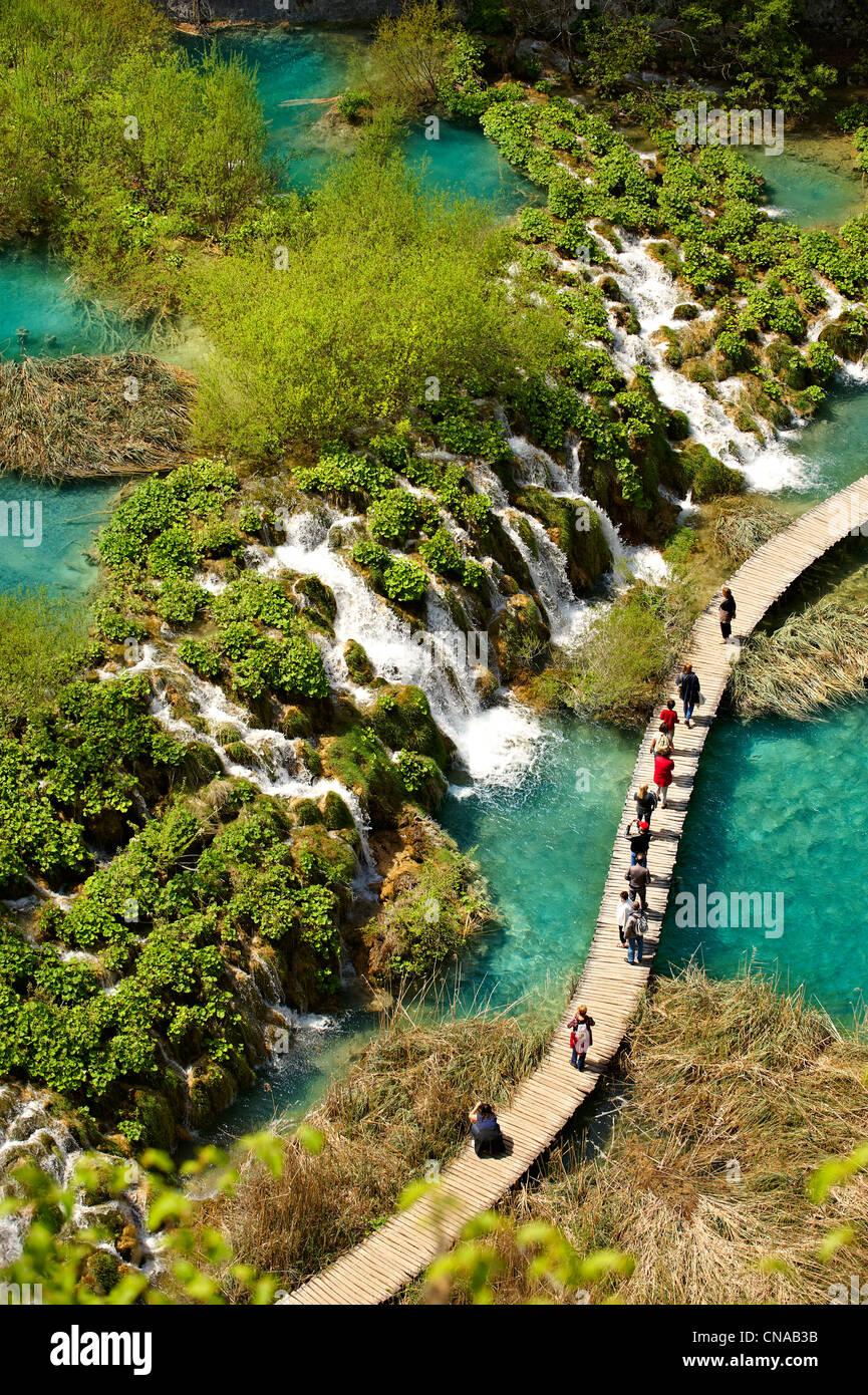 Plitvice mineral water lakes & water falls. Plitvice ( Plitvička ) Lakes National Park, Croatia. A UNESCO World - Stock Image