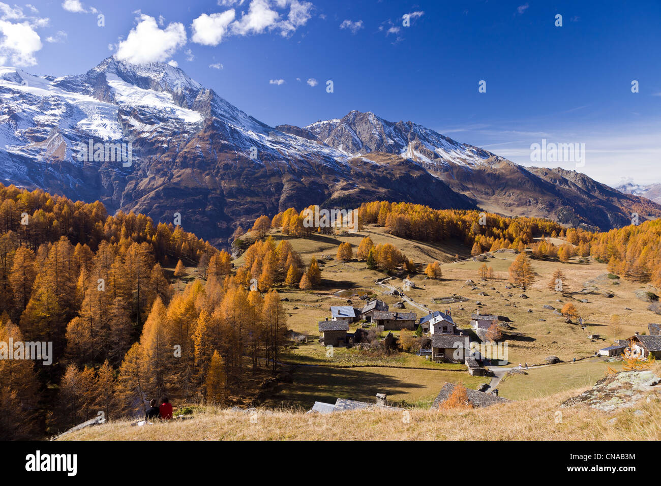 France, Savoie, Ste Foy Tarentaise, the hamlet of high mountain pasture of Monal with view on Mont Pourri (3779m) - Stock Image