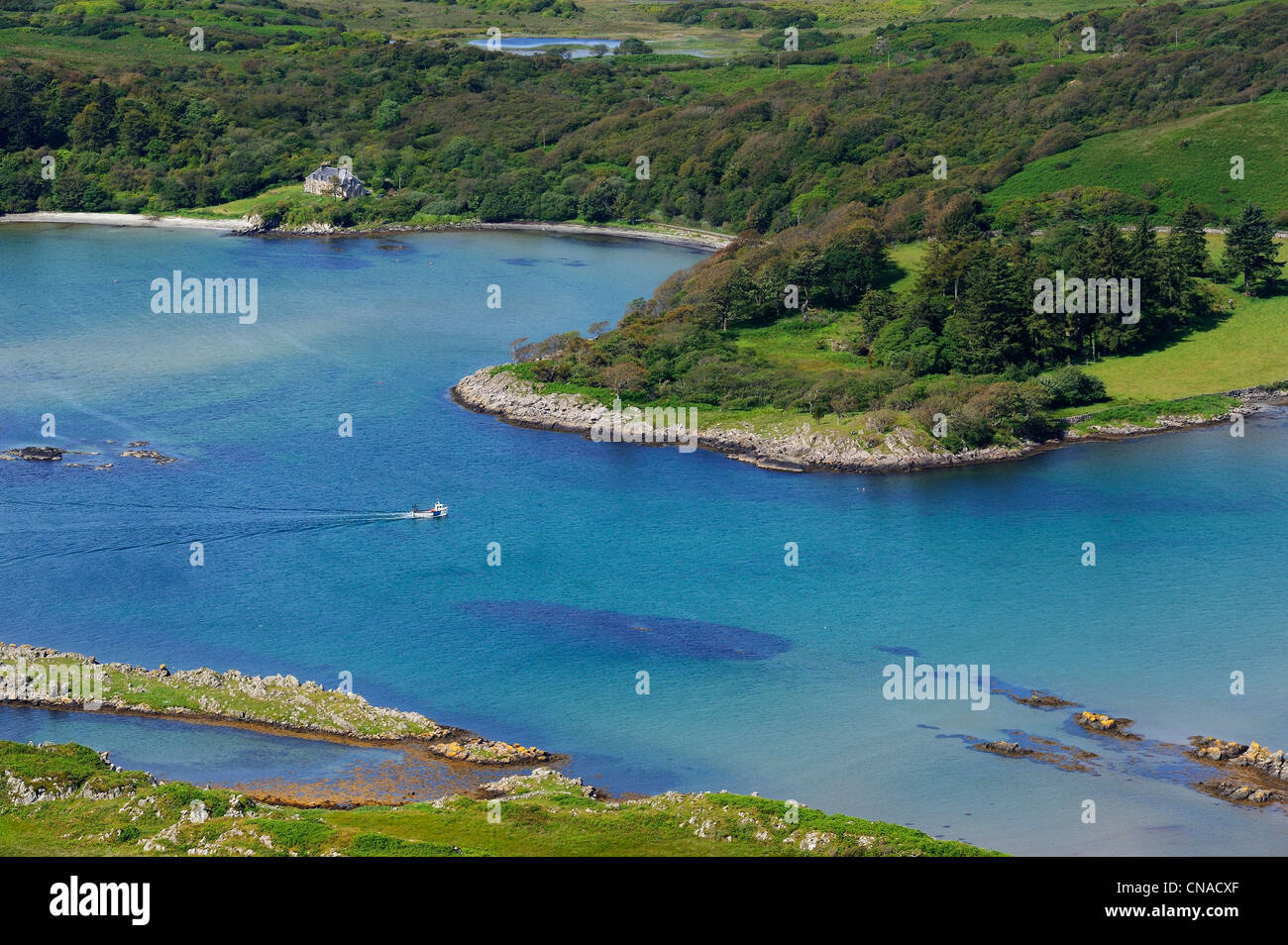 United Kingdom, Scotland, Inner Hebrides, Islay Island, Ardilistry Bay on the East Coast (aerial view) - Stock Image