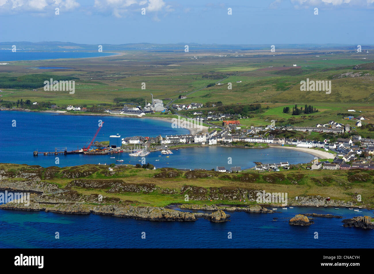 United Kingdom, Scotland, Inner Hebrides, Islay Island, Port Ellen village (aerial view) - Stock Image