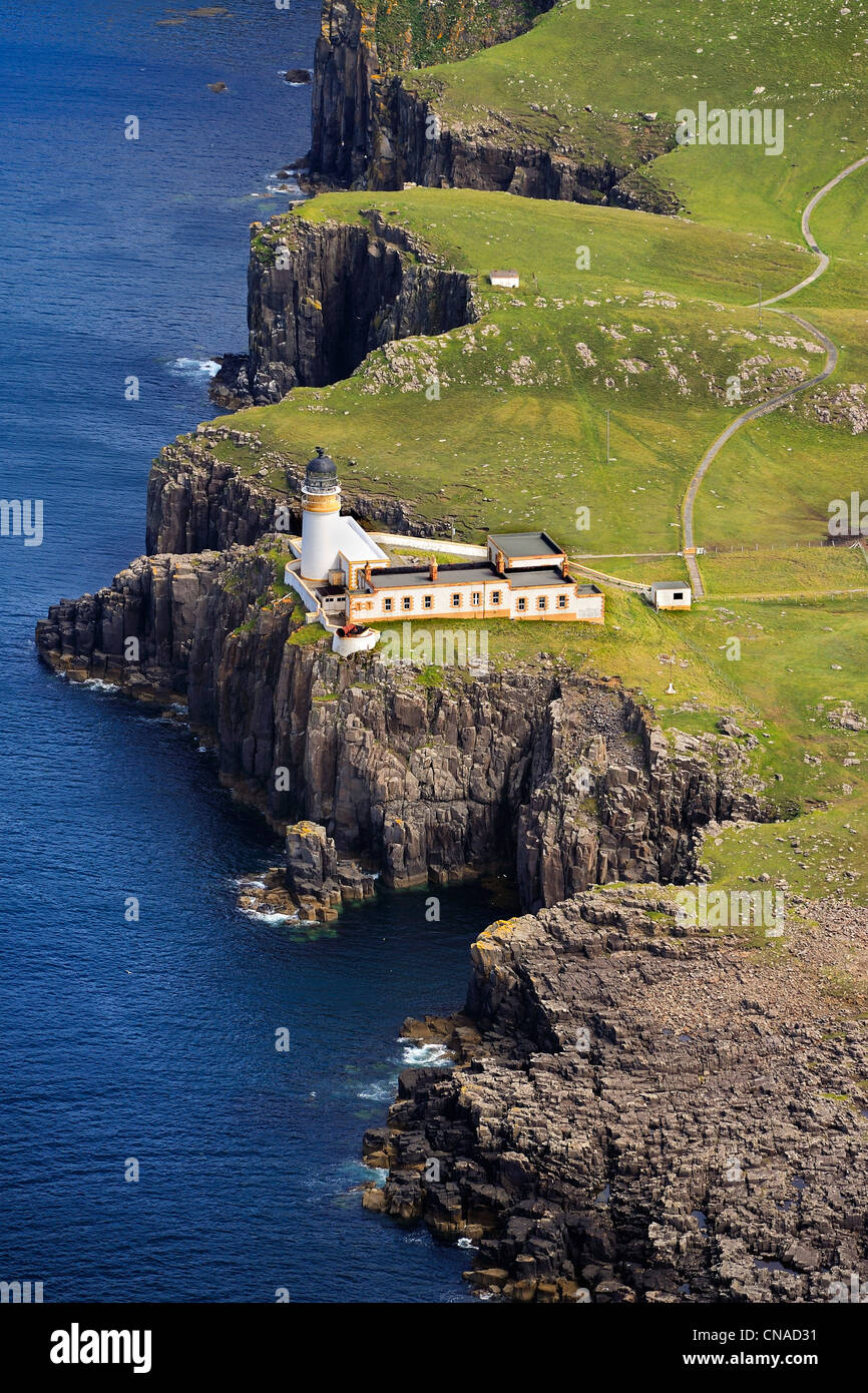 United Kingdom, Scotland, Highland, Inner Hebrides, Isle of Skye, Duirinish Peninsula, Neist Point Lighthouse (aerial - Stock Image