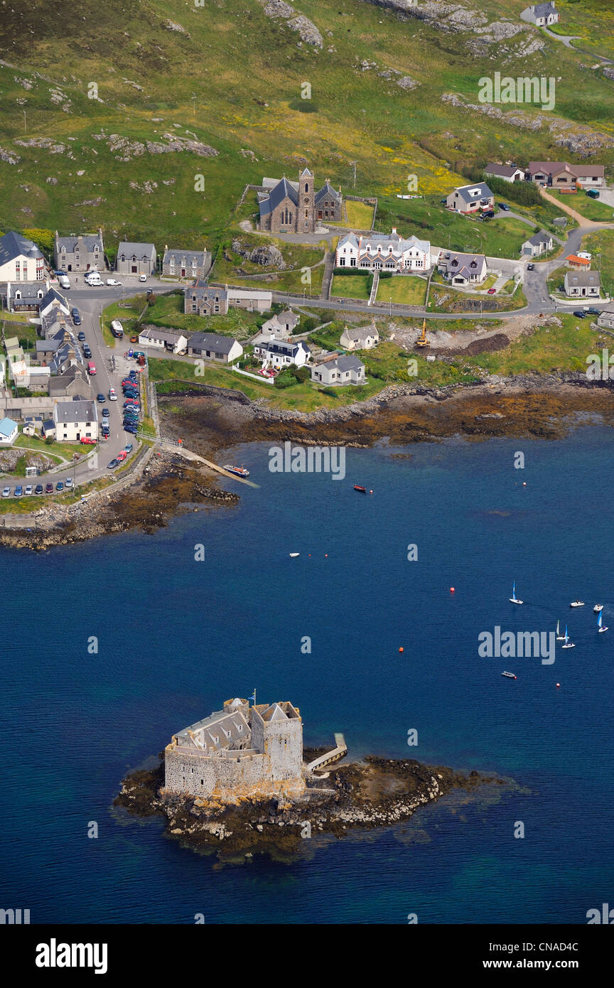 United Kingdom, Scotland, Outer Hebrides, Isle of Barra (aerial view) - Stock Image