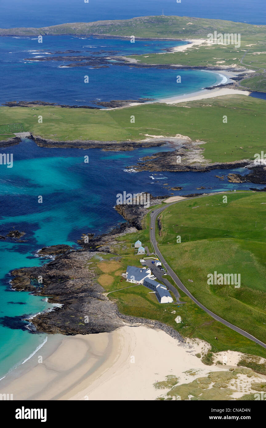 United Kingdom, Scotland, Outer Hebrides, Isle of Barra, beaches on the West Coast (aerial view) - Stock Image