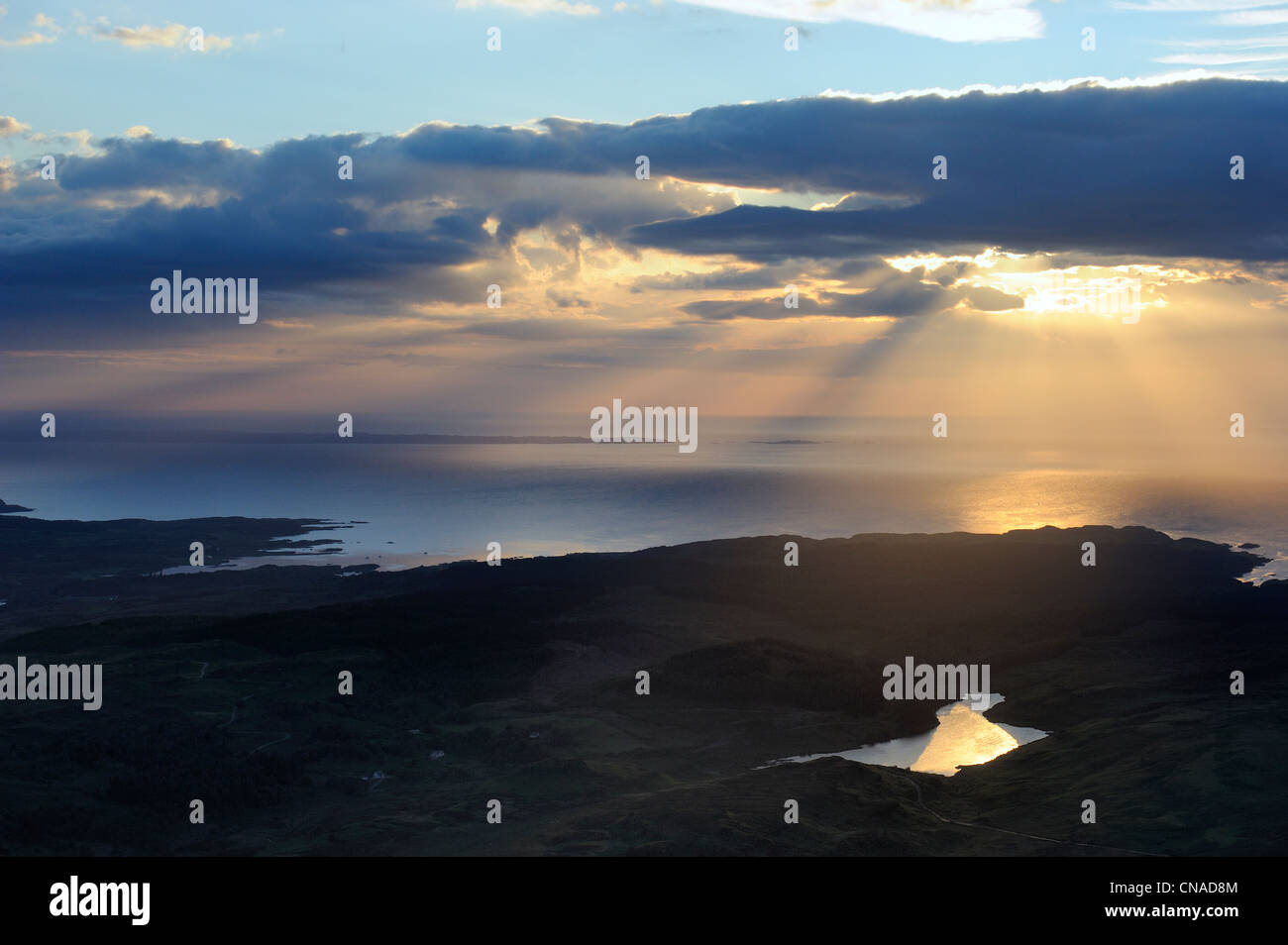 United Kingdom, Scotland, Highland, Inner Hebrides, Isle of Mull, Quinish Point on the north coast (aerial view) - Stock Image