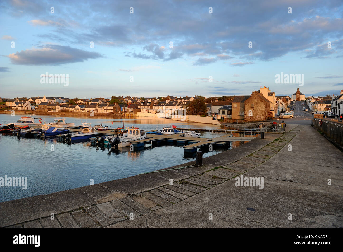 United Kingdom, Scotland, Inner Hebrides, Islay Island, Bowmore, the harbour and the main street leading to the - Stock Image