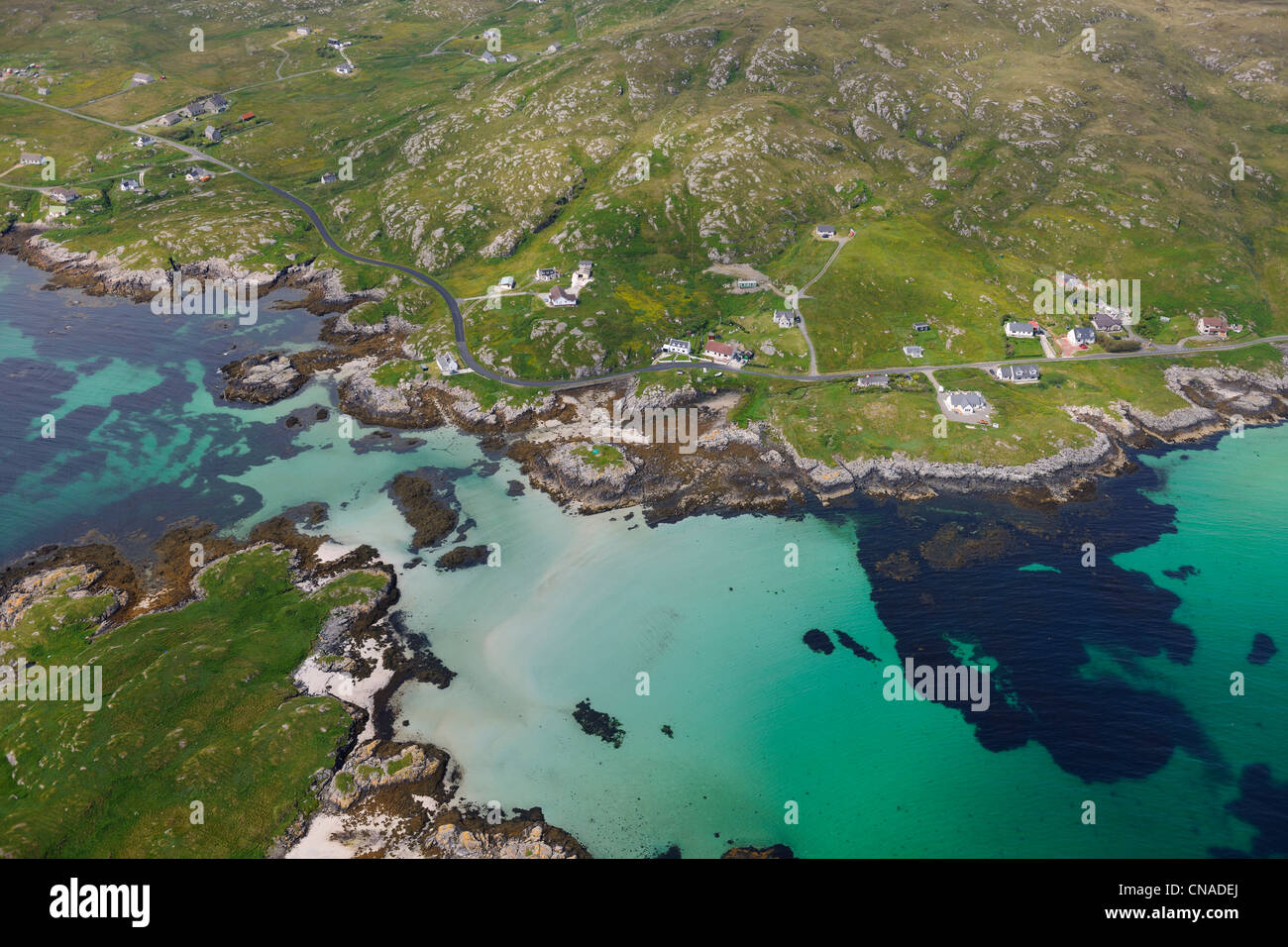 United Kingdom, Scotland, Outer Hebrides, Isle of Barra, the east coast at Ersary (aerial view) - Stock Image