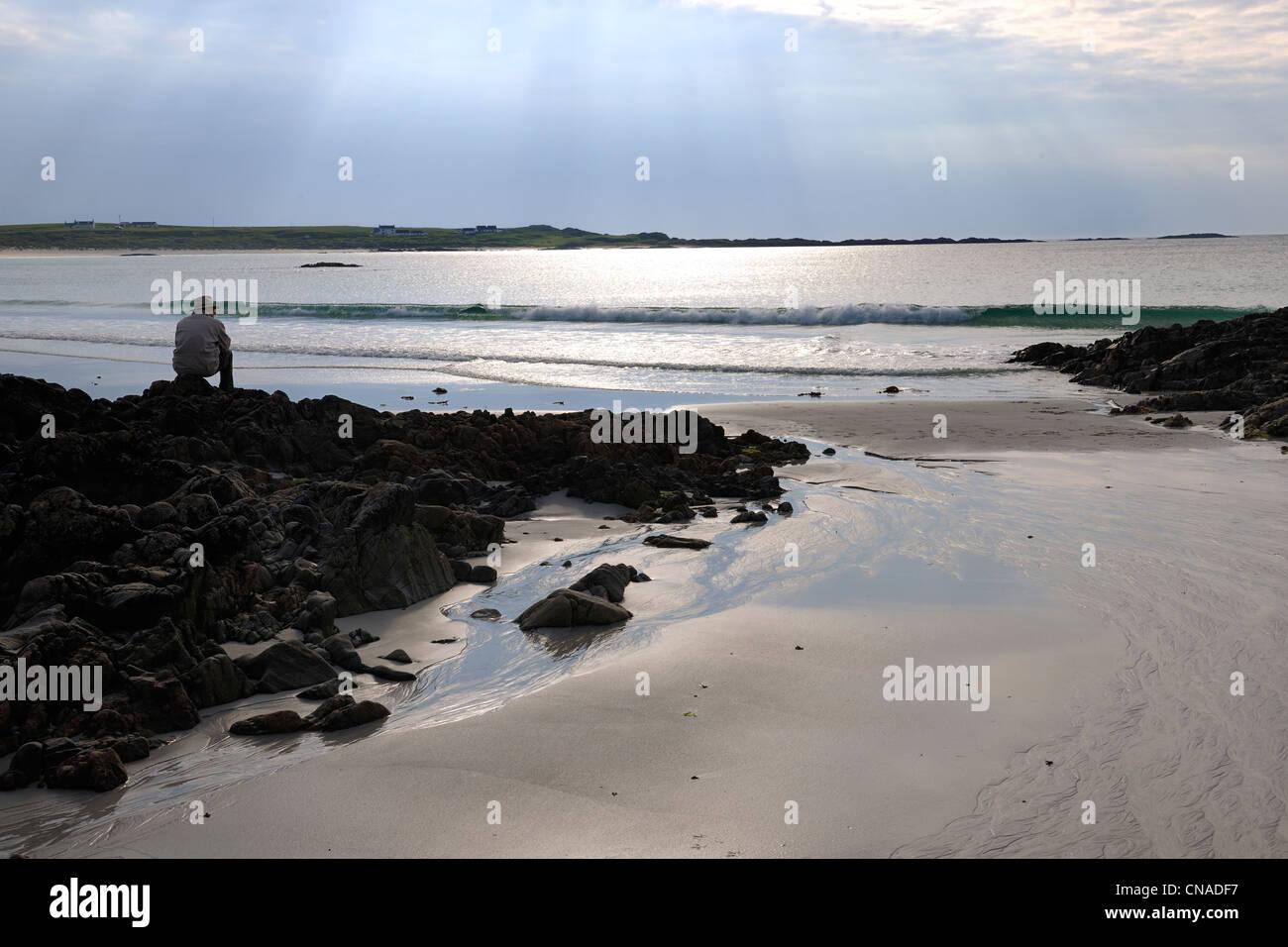 United Kingdom, Scotland, Inner Hebrides, Isle of Tiree, Balephetrish Bay beach - Stock Image