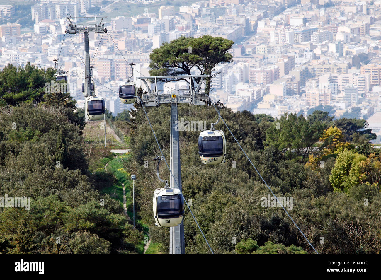 Erice to Trapani cable car, Sicily, Italy - Stock Image
