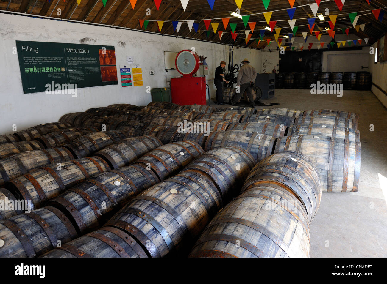 United Kingdom, Scotland, Inner Hebrides, Islay Island, Port Ellen, Laphroaig Scotch whisky distillery - Stock Image