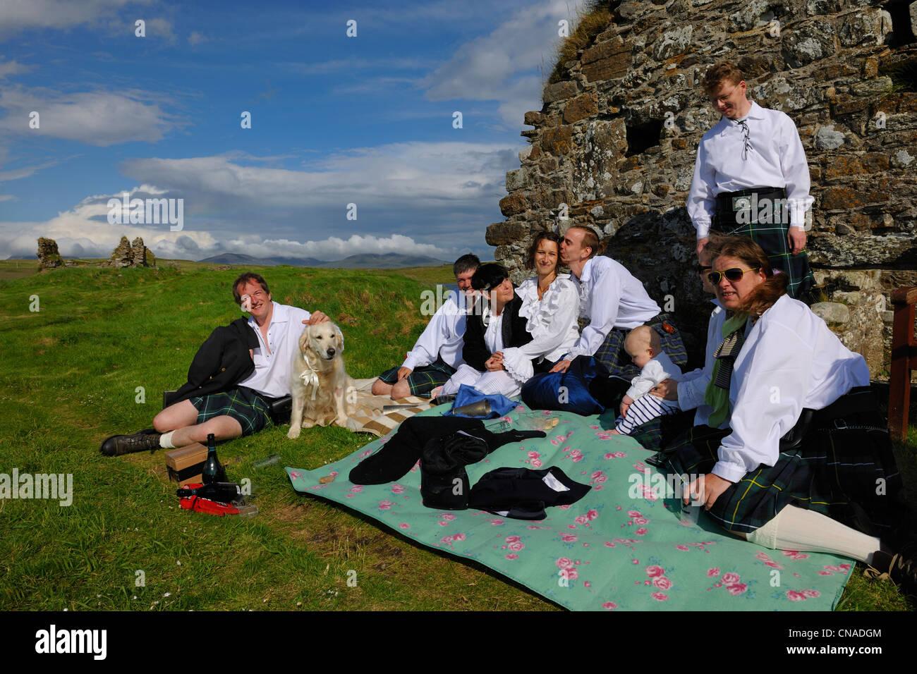 United Kingdom, Scotland, Inner Hebrides, Islay Island, Finlaggan is a historic site on Eilean Mòr island in Loch Stock Photo