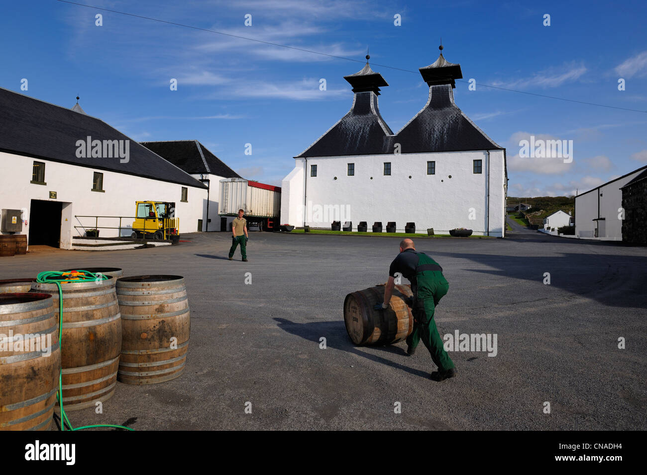 United Kingdom, Scotland, Inner Hebrides, Islay Island, Port Ellen, Ardbeg Scotch whisky distillery - Stock Image