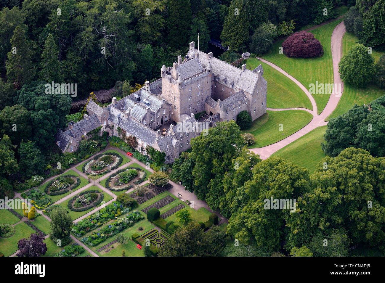 United Kingdom, Scotland, Highland, Cawdor Castle build at the end of the 14th century surrounded by gardens (aerial - Stock Image