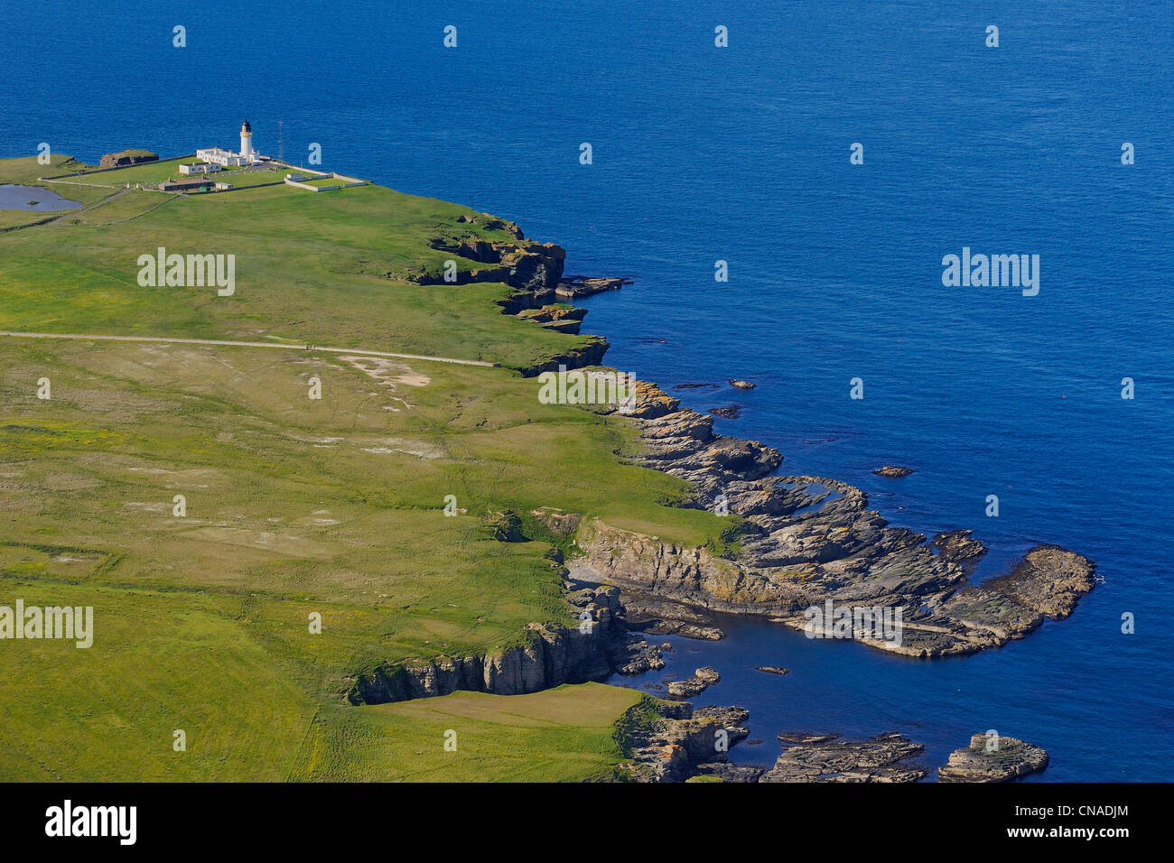 United Kingdom, Scotland, Highland, the east coast of Caithness north of Wick and the Noss Head Lighthouse (aerial - Stock Image