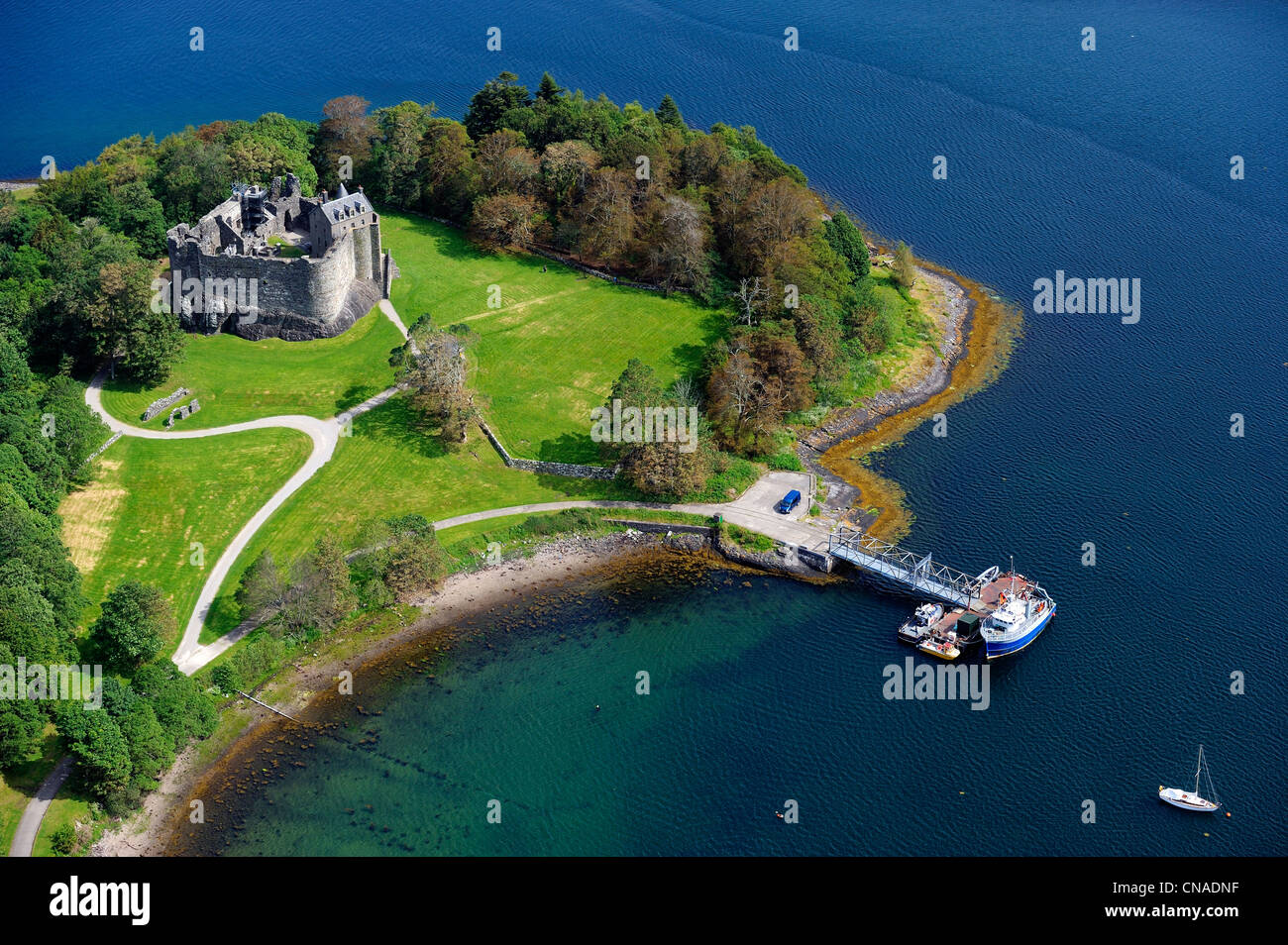 United Kingdom, Scotland, Highland, Oban, Dunollie Castle of Clan MacDougall (aerial view) - Stock Image