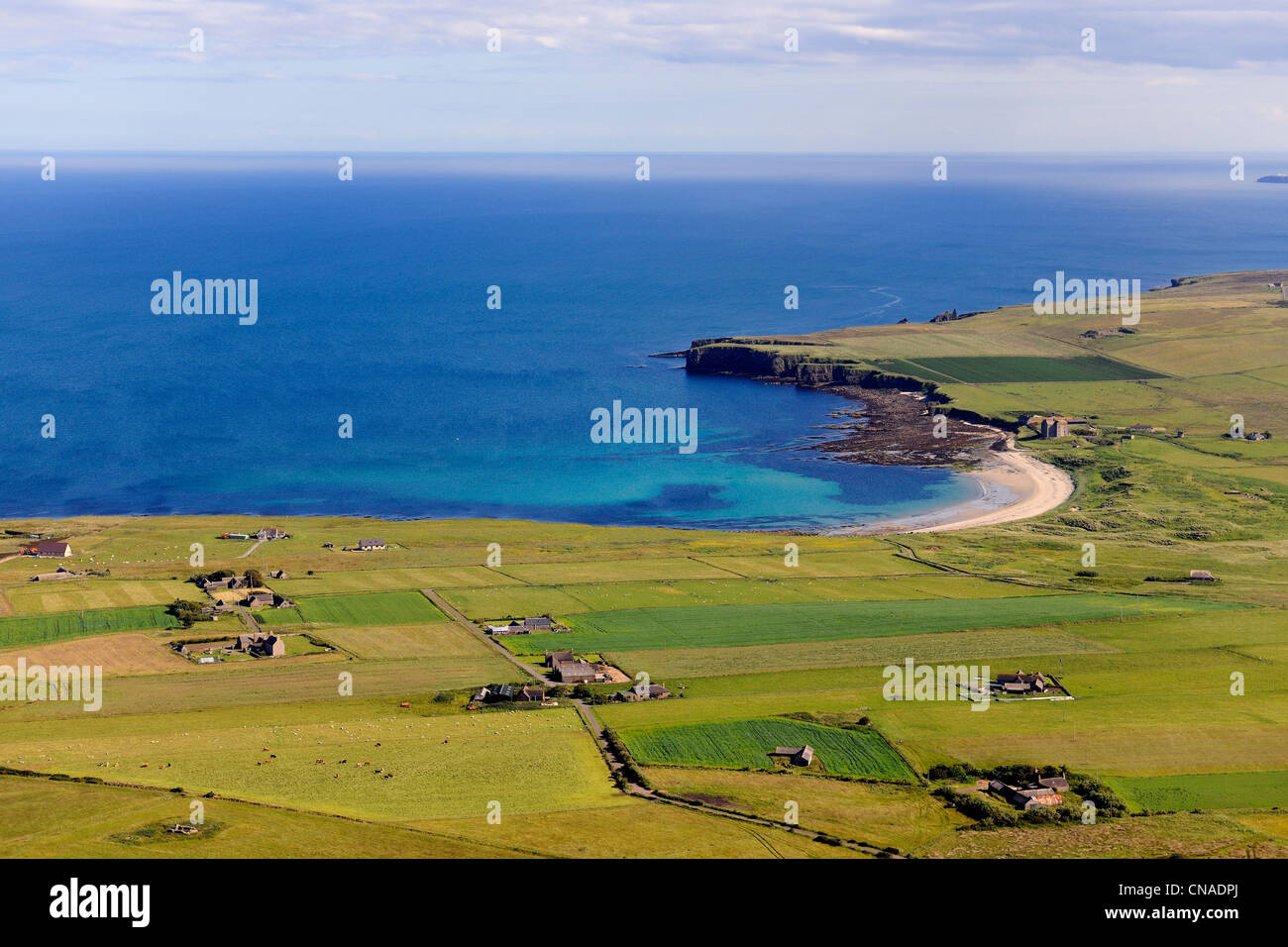 United Kingdom, Scotland, Highland, the east coast of Caithness north of Wick, farms around Freswick Bay (aerial - Stock Image