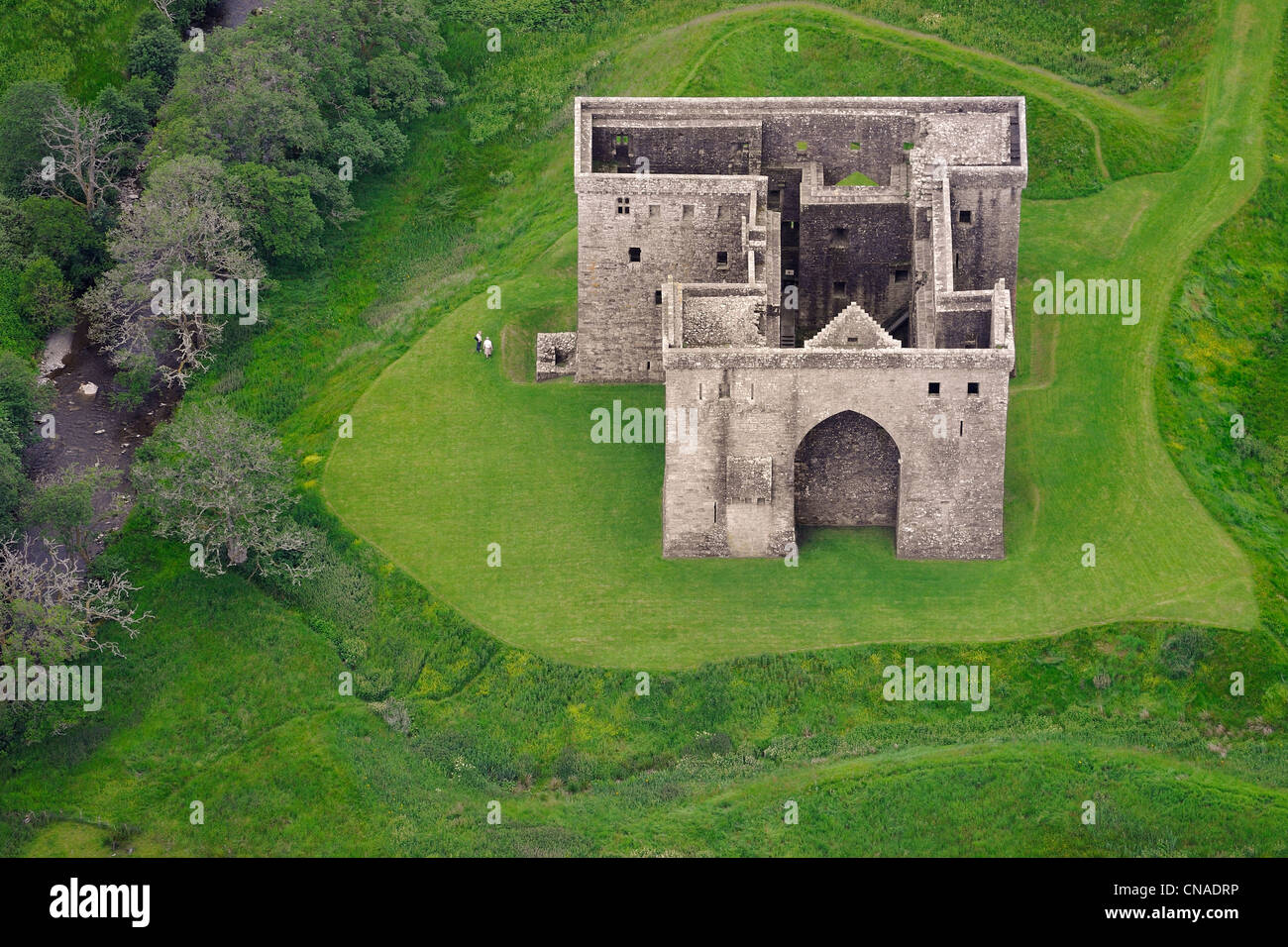 United Kingdom, Scotland, Borders, Liddesdale, Newcastleton, Hermitage Castle built in the 14th and 15th centuries - Stock Image