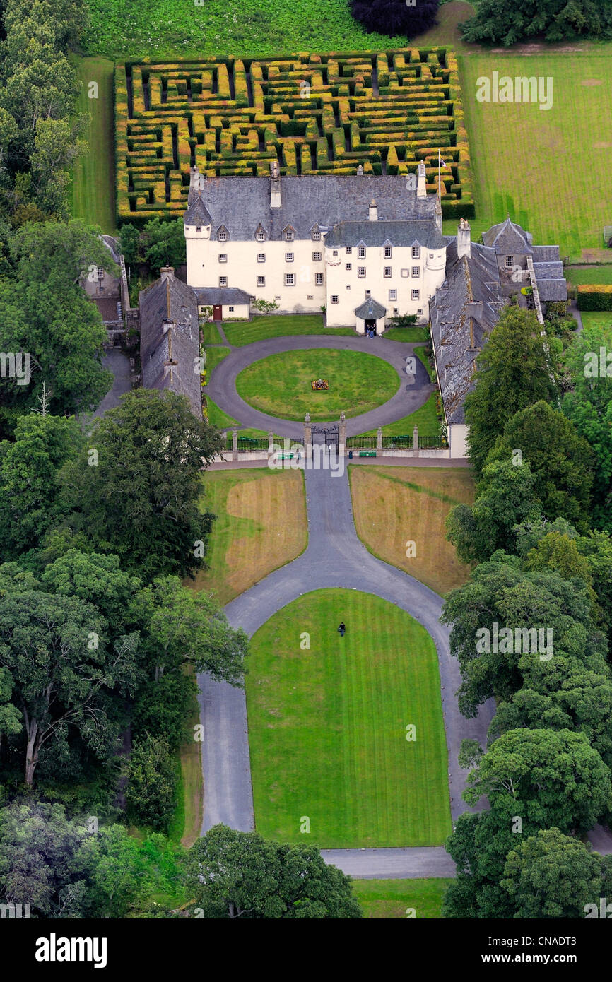 United Kingdom, Scotland, Borders, Tweed Valley, castle of Traquair House (aerial view) - Stock Image