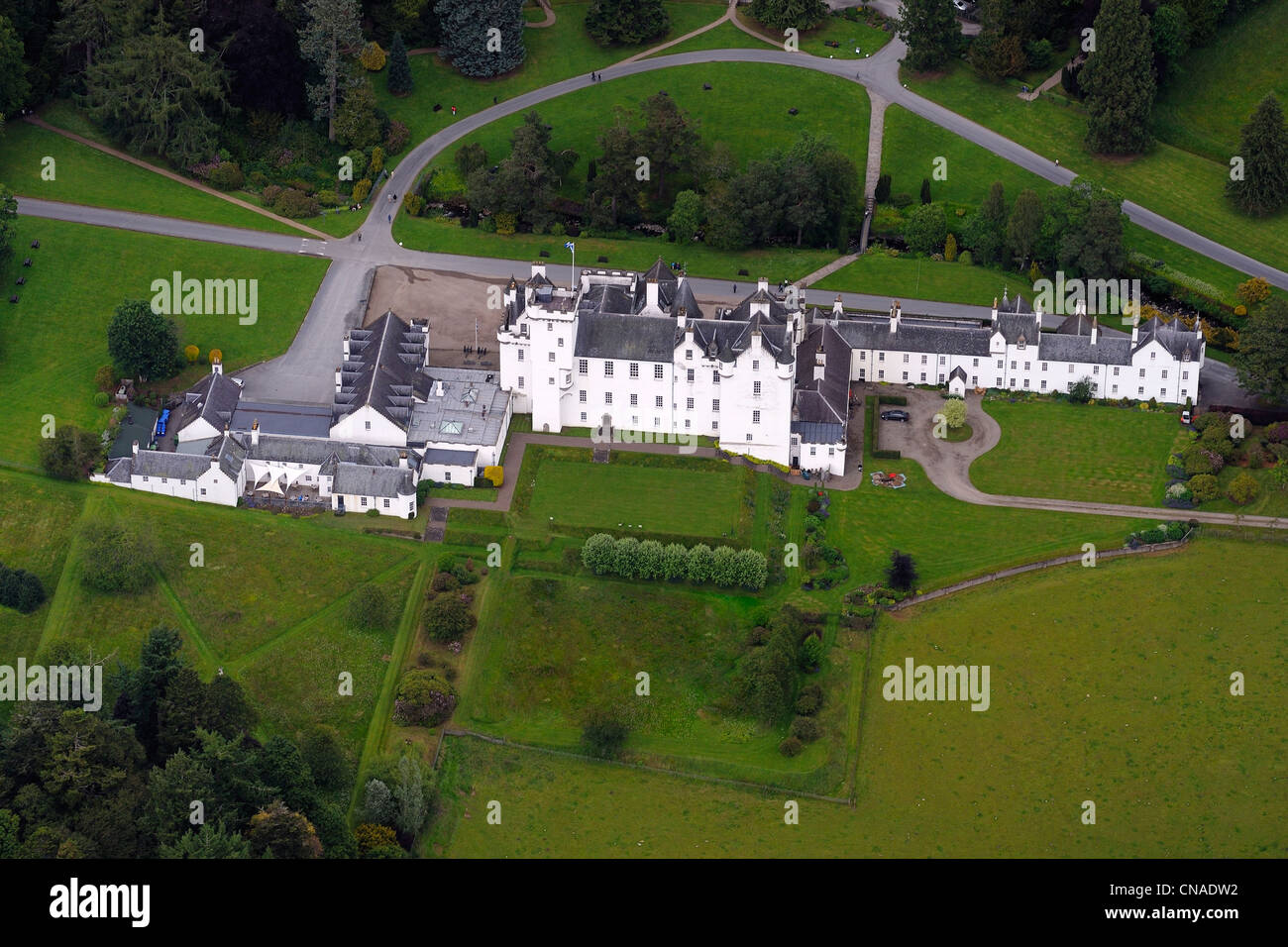 United Kingdom, Scotland, Perthshire and Kinross, Blair Castle (aerial view) - Stock Image