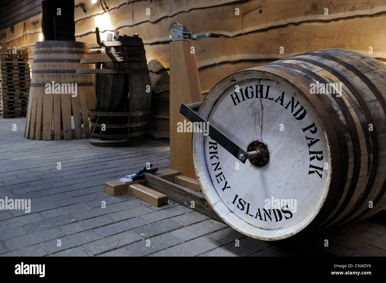 United Kingdom, Scotland, Orkney Islands, Kirkwall, Highland Park whisky distillery, barrels preparation - Stock Image