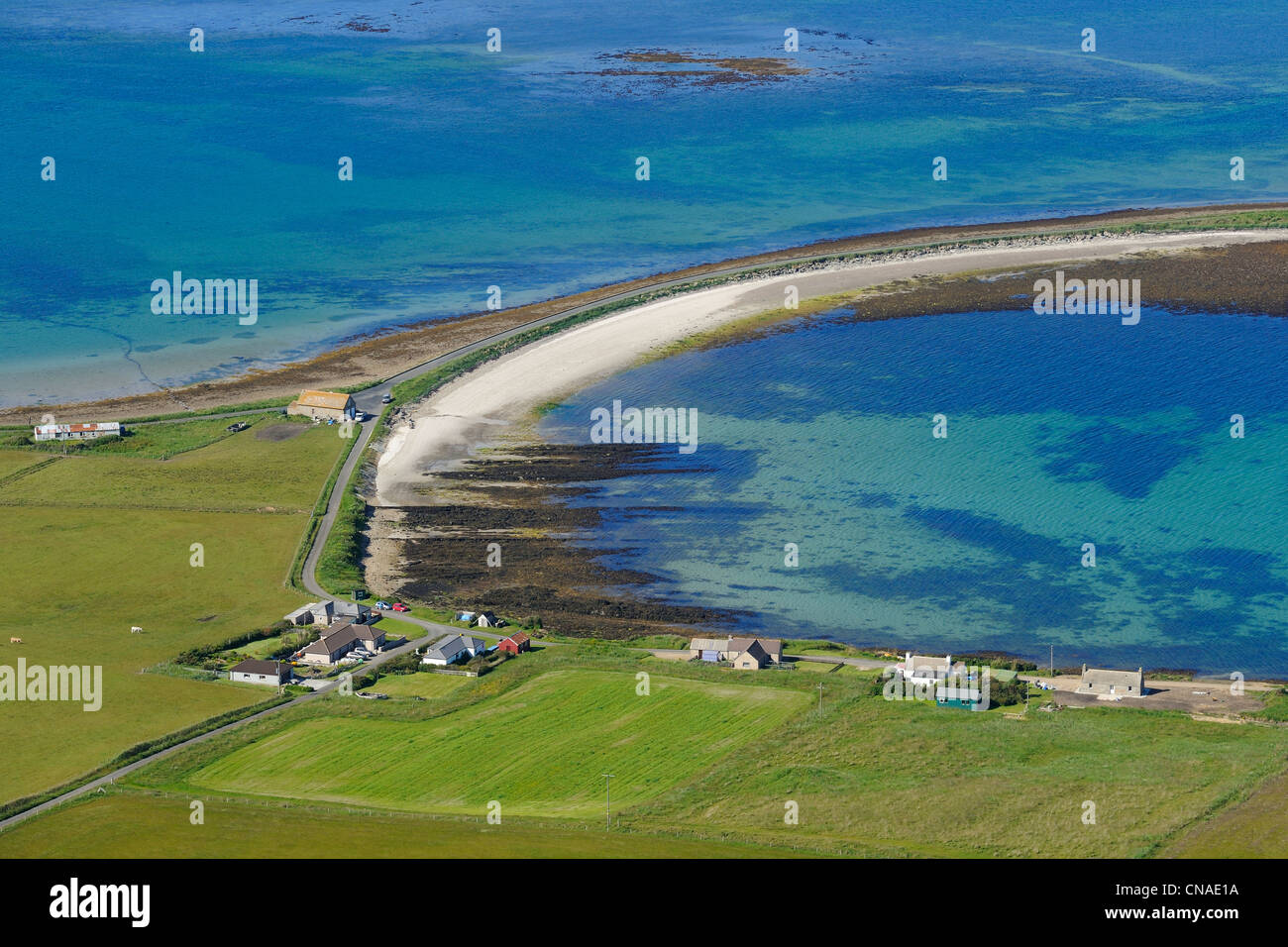 United Kingdom, Scotland, Orkney Islands, Island of Hoy, narrow causeway over the sandbank which was known as the - Stock Image