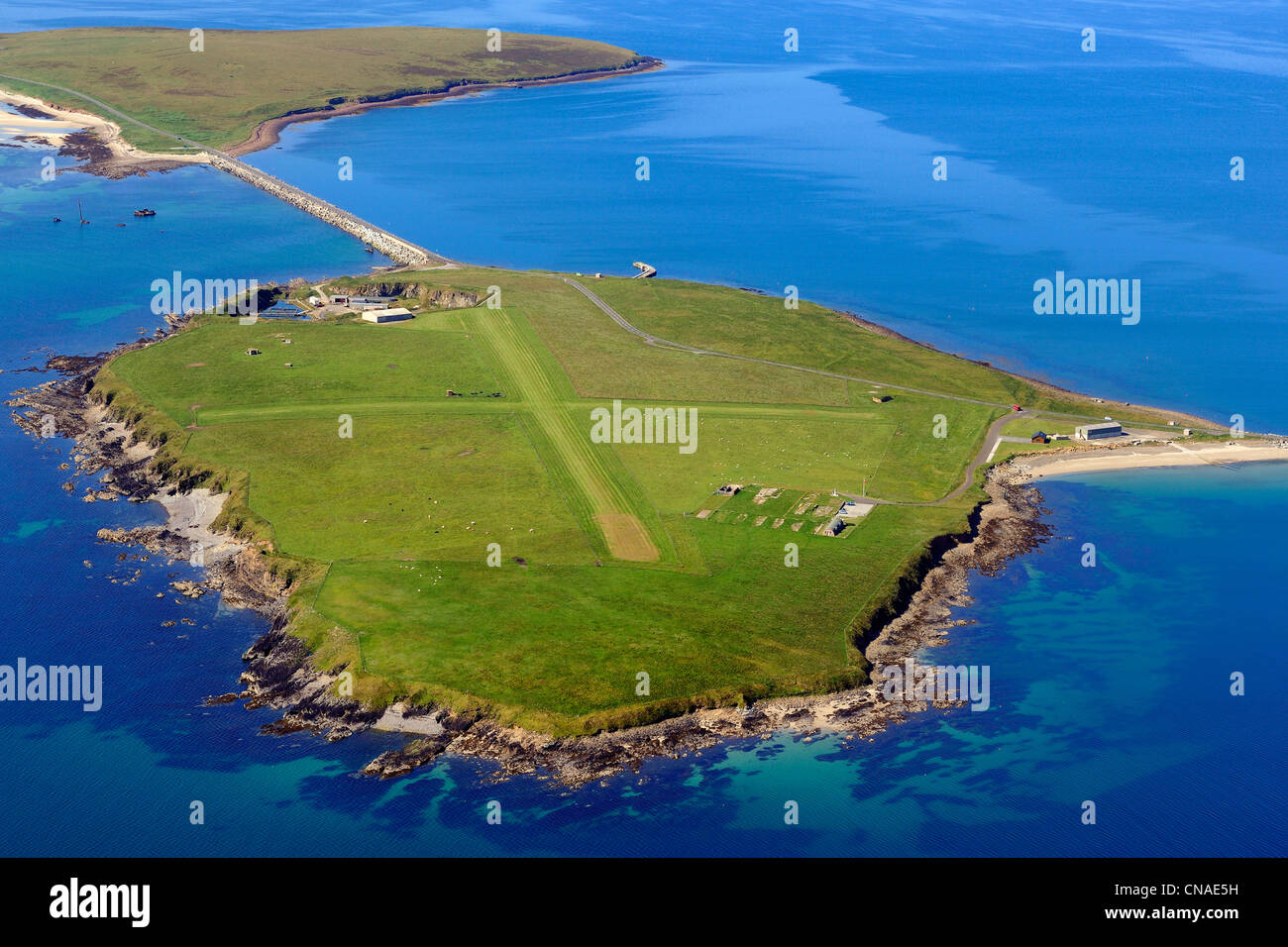 United Kingdom, Scotland, Orkney Islands, airfield on Lambholm Island (aerial view) - Stock Image