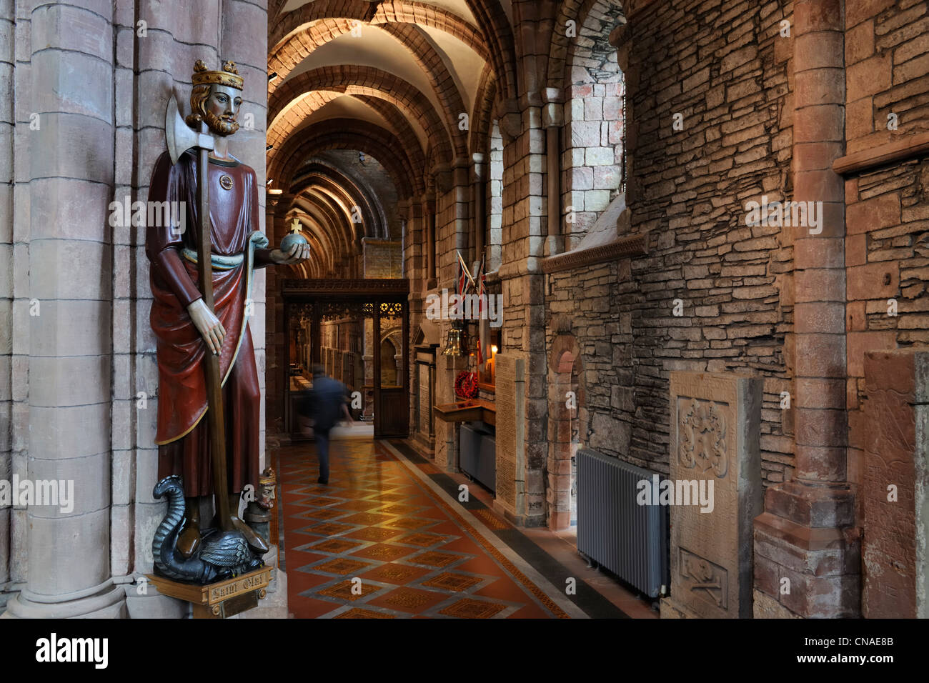 United Kingdom, Scotland, Orkney Islands, Mainland, town of Kirkwall, Saint-Magnus cathedral, Saint Olaf - Stock Image