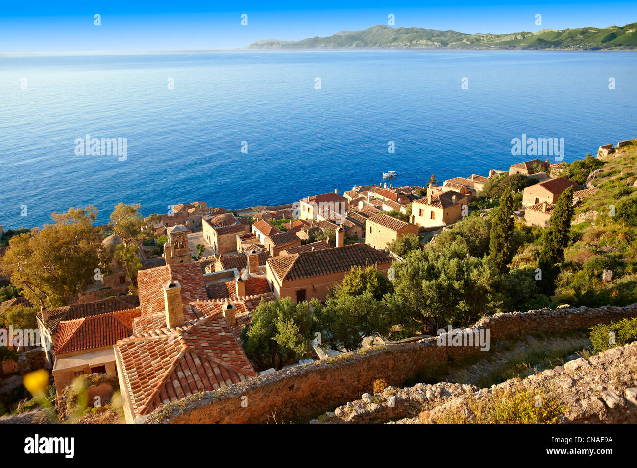 Arial view of Monemvasia ( Μονεμβασία ) Byzantine Island castle town with acropolis on the plateau. Peloponnese, - Stock Image