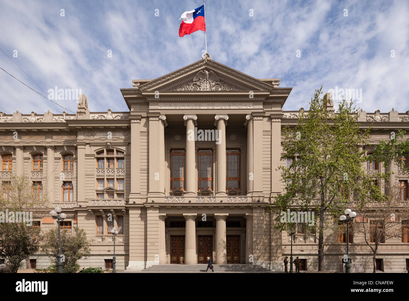 Chilean Supreme Court building; Palace of Justice; Tribunales de Justicia, in Santiago de Chile - Stock Image