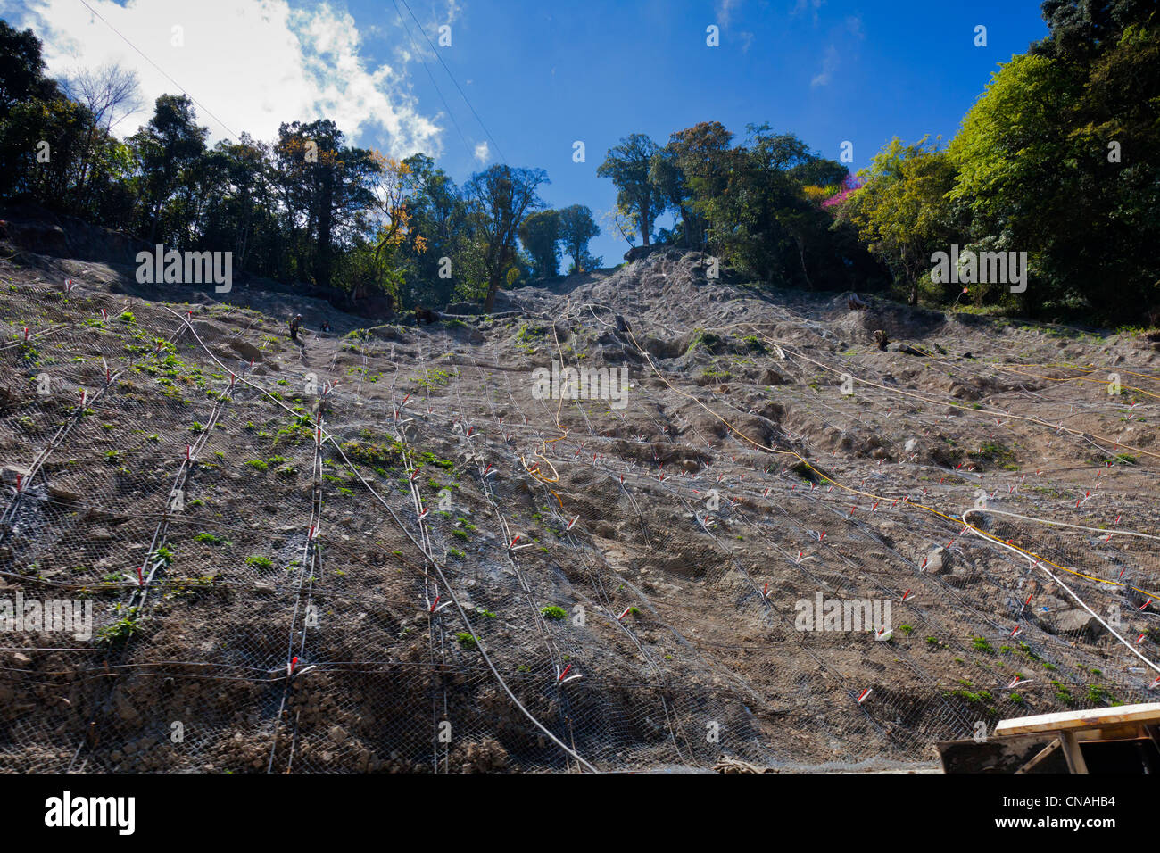 Site of landslide being repaired on Route 21 Yushan Landscape Route in Taiwan. JMH5909 - Stock Image