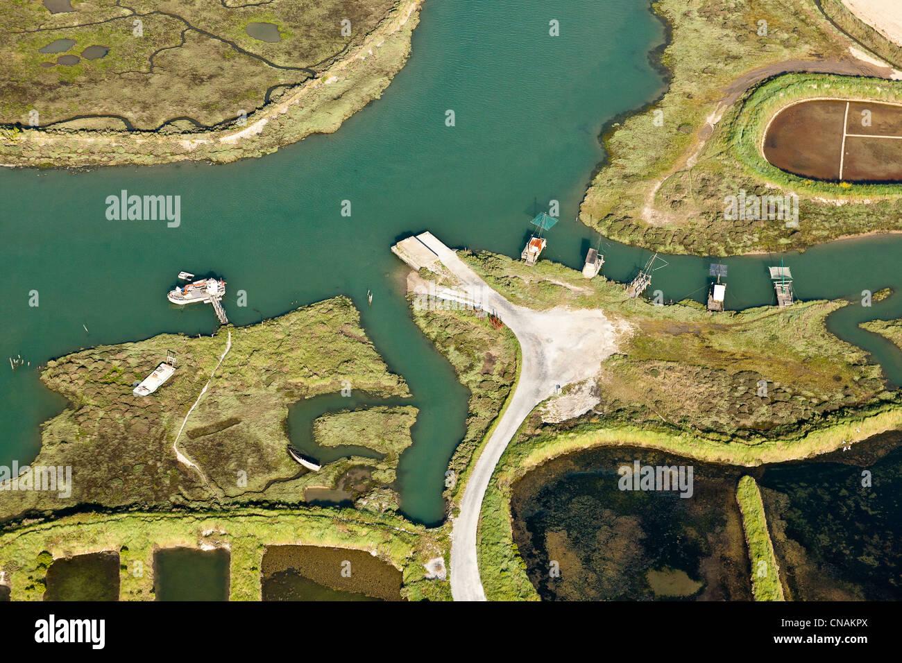 France, Loire-Atlantique, Assérac, Bassin du Mès fisheries (aerial photography) - Stock Image