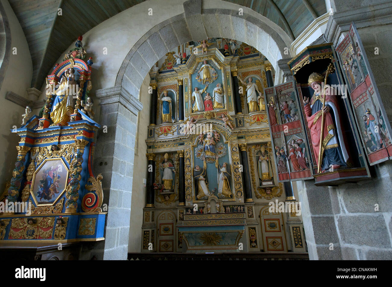 France, Finistere, stop on the Way of St James, St Thegonnec, parish enclosure - Stock Image