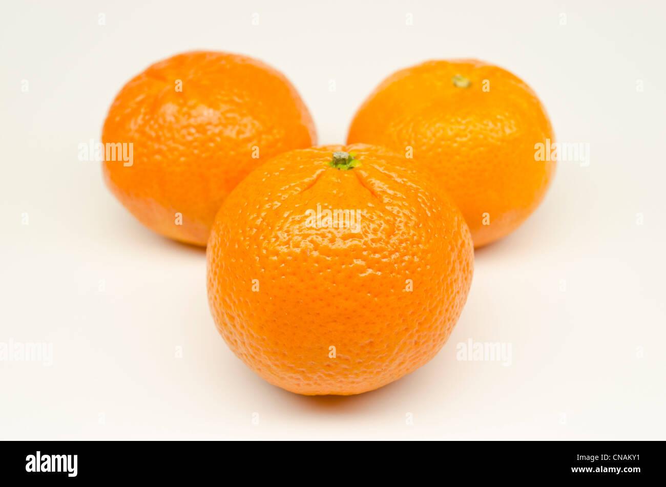 Three oranges on white background - Stock Image