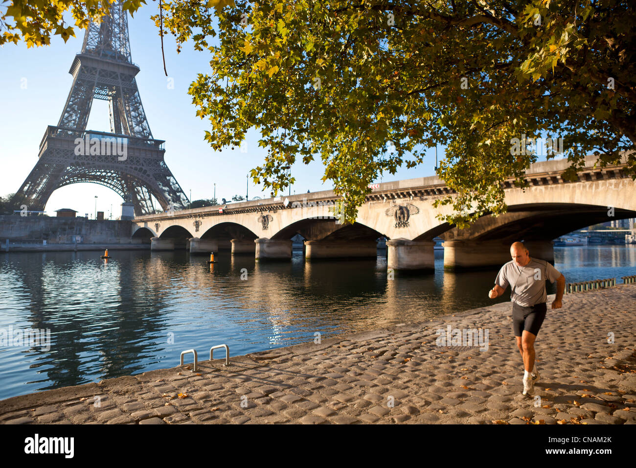France, Paris, Seine river banks, listed as World Heritage by UNESCO, the port and the Eiffel Tower Debilly - Stock Image
