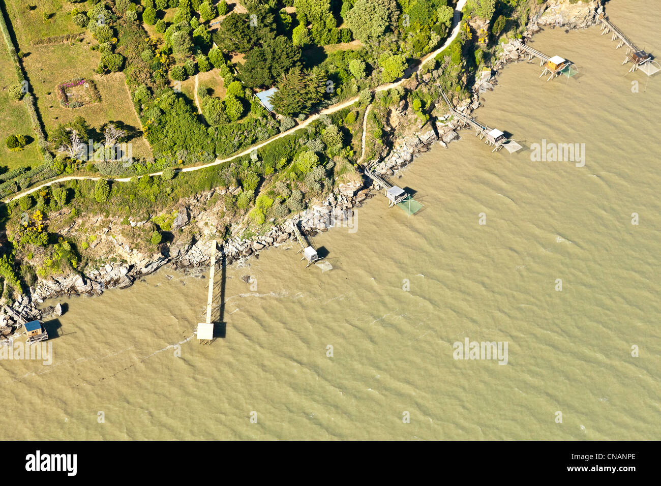 France, Loire-Atlantique, Pornic, fisheries (aerial photography) - Stock Image