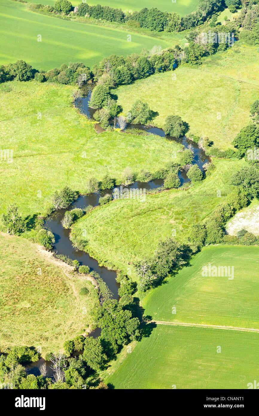 France, Loire-Atlantique, Sion-les-Mines, La Chère river meanders (aerial photography) - Stock Image